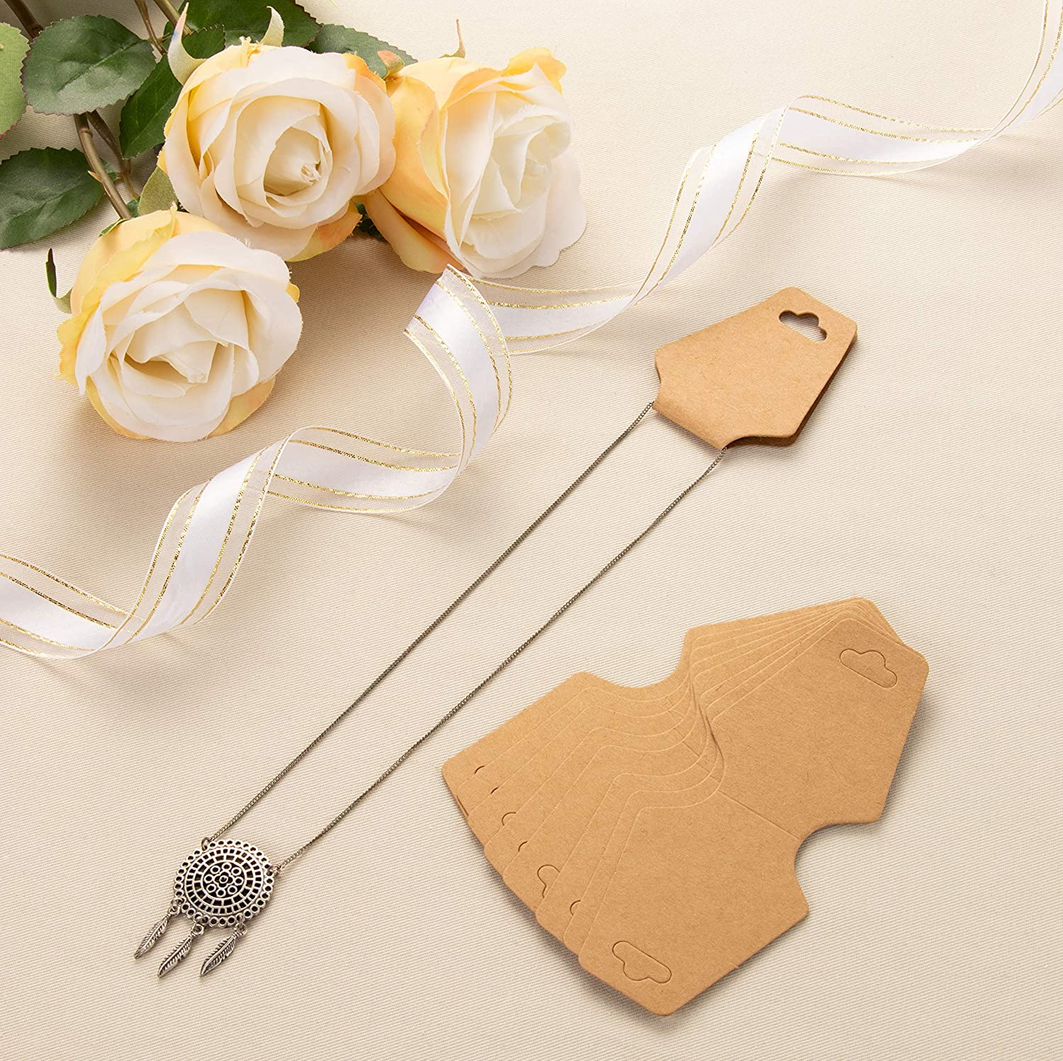 4.87 x 2 Inches Brown Necklace Cards 200-Pack Necklace Card Holder Kraft Paper Jewelry Display Hanging Cards for Necklaces Jewelry Hang Tags Bracelets