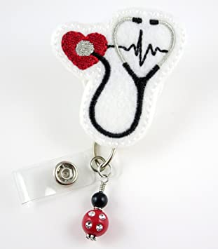 Very Cute Nurse Retractable Belt Clip Badge Reel with Heart Stethoscope Thermometer RX Medication Charms and Dangling Tassels