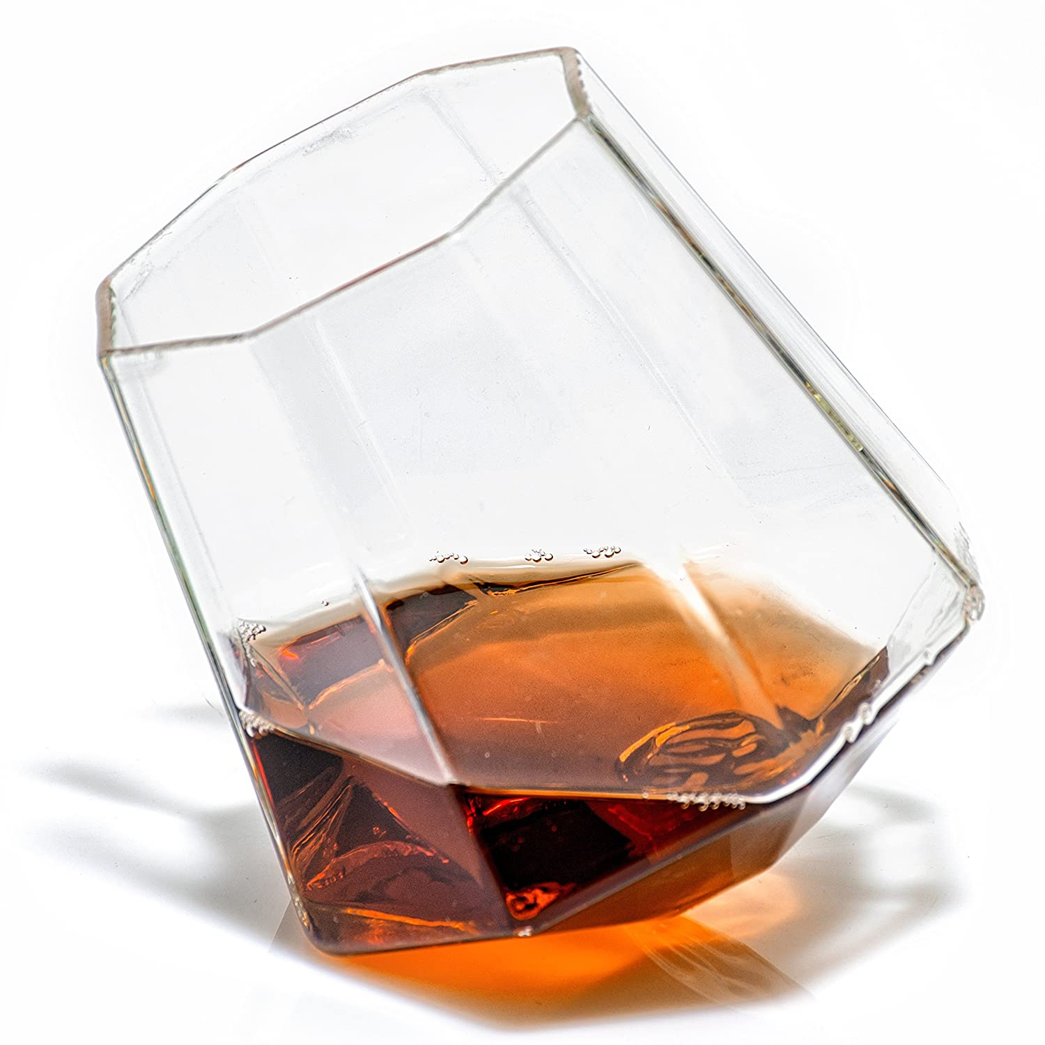 Diamond Shaped Whiskey Glass - 10 oz Unique Rocks Glass for Bourbon, Rum, Tequila, Scotch – Old Fashioned/Rocks Glasses from Prestige Decanters (Set of Two) Father's Day 50% Off Sale BDG175