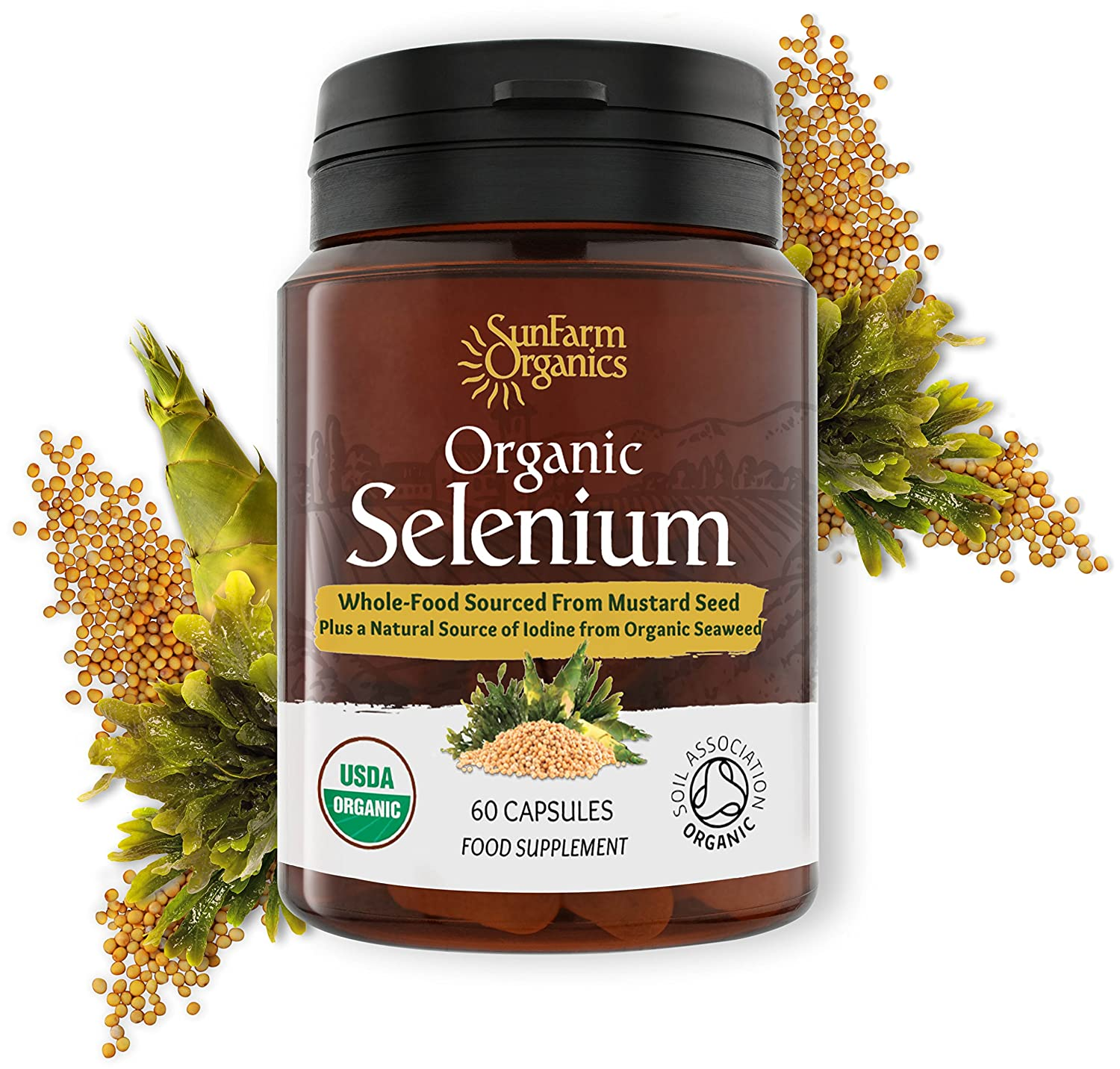 Organic Selenium 200 mcg with Iodine and Silica All from Certified Organic  Whole Foods - Two