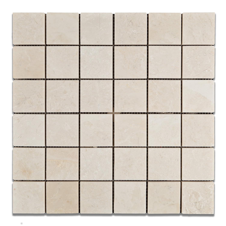 White Pearl Botticino Marble 2 X Polished Mosaic Tile