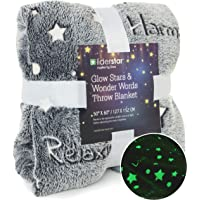 """LIDERSTAR Glow in The Dark Throw Blanket,Super Soft Fuzzy Fluffy Plush Fleece,Decorated with Stars and Words of Healing, Valentines Day Birthday Gift for Girls Boys Kids Teens Toddler, Gray,50""""x 60"""""""