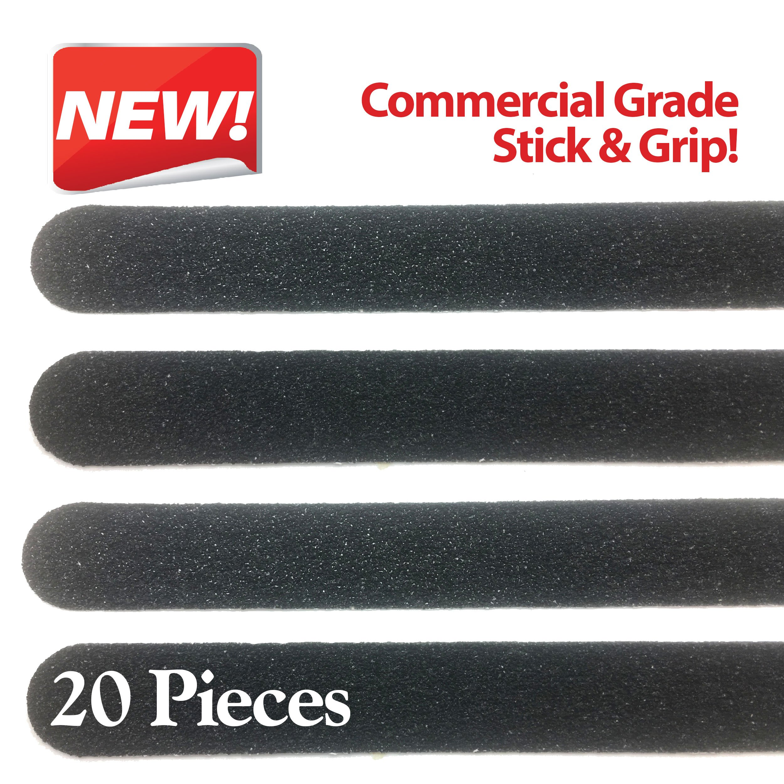 Non Slip Stair & Floor Grip Strips 20 Pre-cut strips 1'' x 15.5'' Anti slip safety tape: Waterproof-Indoor/Outdoor-Commercial adhesive & grit-Prevent Falls.Cars Trucks and Trailers too