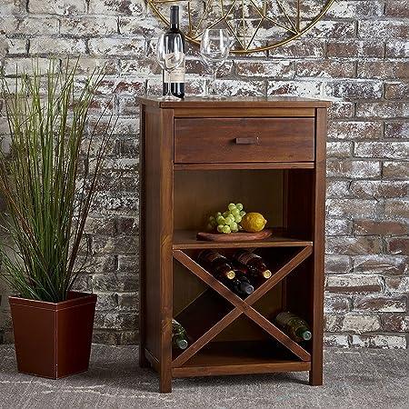 RjKart Sheesham Wood Wine Storage Bar Cabinet For Home   Natural Brown Finish
