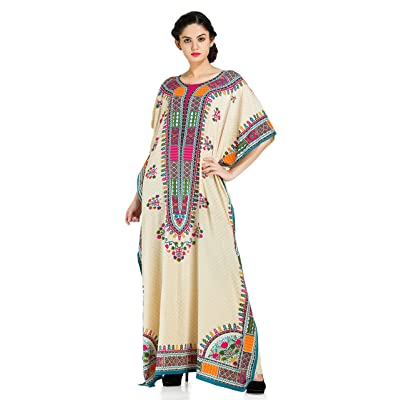 Goood Times Plus Size Boho-Chic Beige Color Caftan-Style Seaside Adventure Cover-UP Dress,Beige,One Size: Clothing