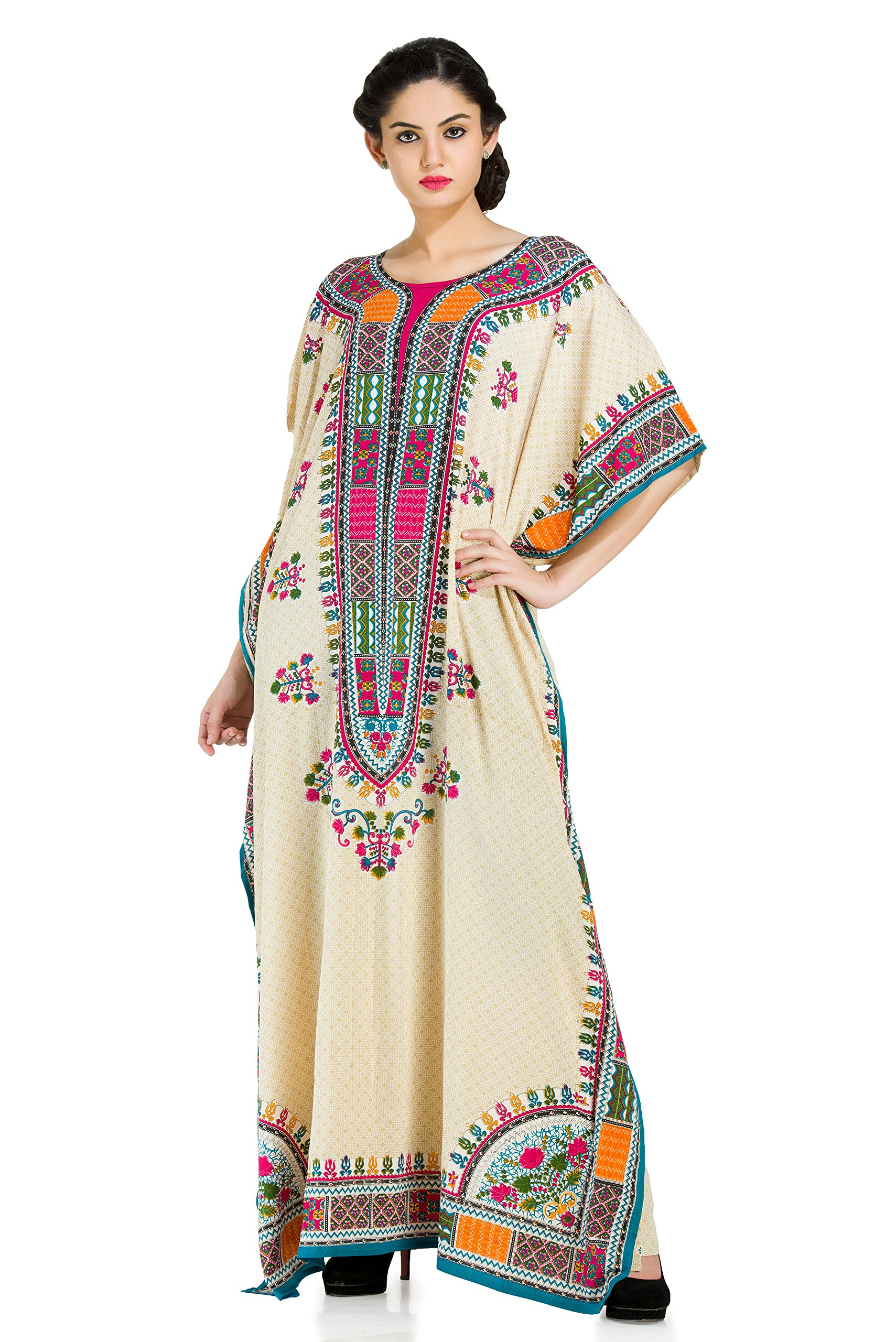 Goood Times Plus Size Boho-Chic Beige Color Caftan-Style Seaside Adventure Cover-UP Dress,Beige,One Size