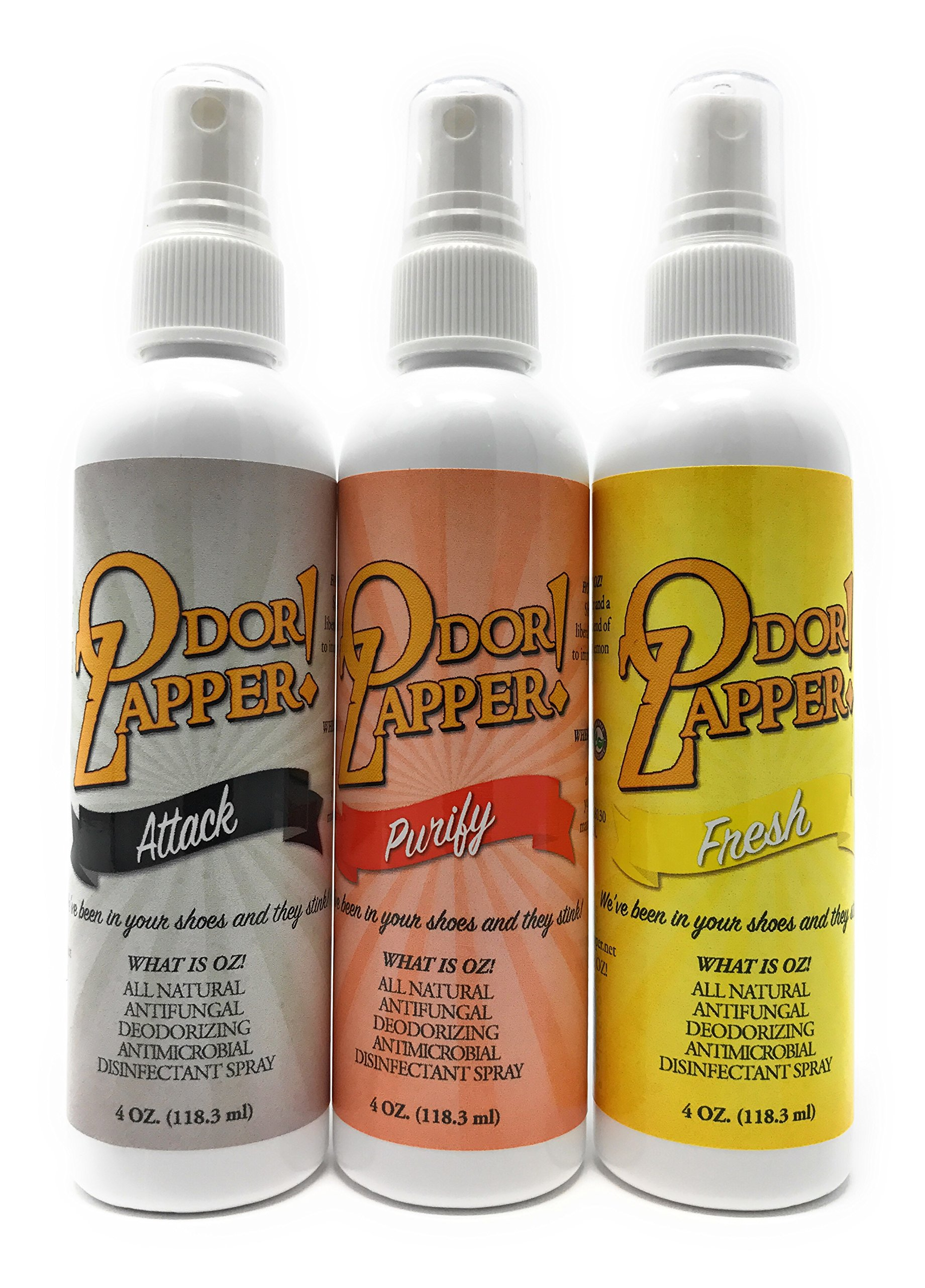 Odor Zapper Disinfectant Spray - For use in Shoes, Gym Bags, Yoga Mats, Kid's Cars and More! ''Gentle Pack'' 3 Pack, 4oz bottles