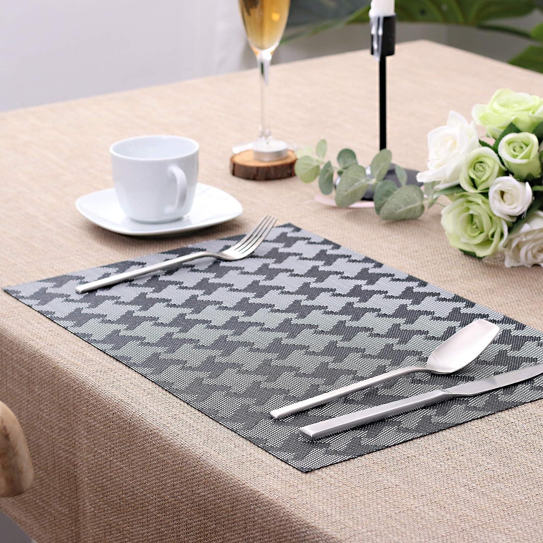 ,45CM X30CM Washable PVC Place Mats Grey LOVECASA Placemats Set Of 6 Non-Slip Heat-Resistant Table Mats Set of 6