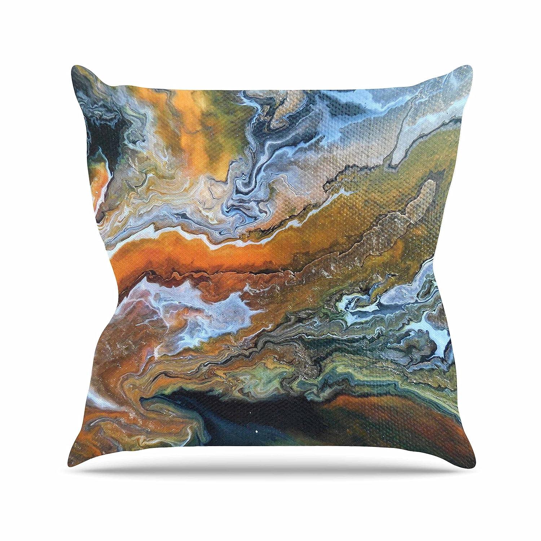 Kess InHouse Carol Schiff Geologic Veins Brown Orange Throw Pillow 16 by 16