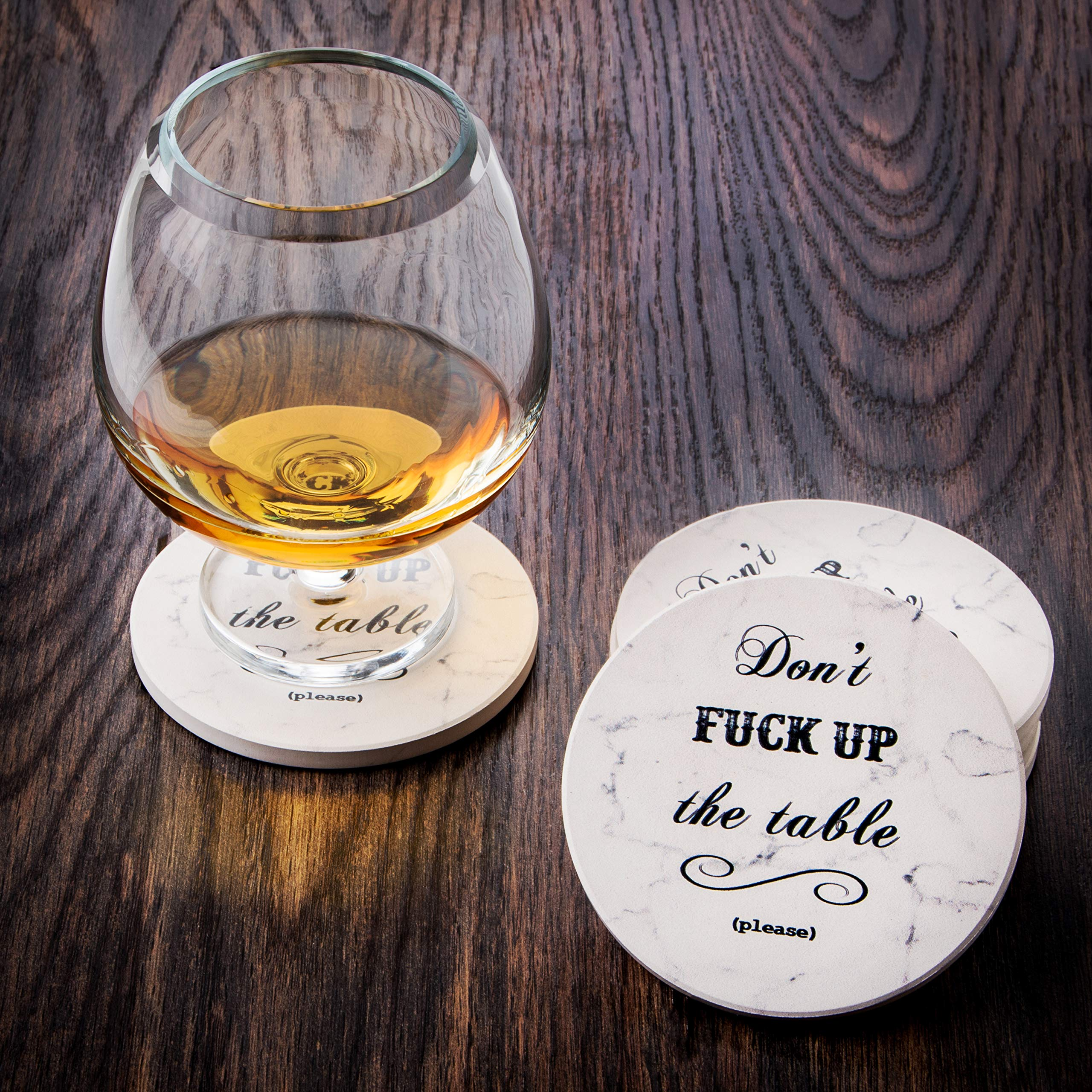 Urban Mosh Coasters for Drinks - Funny Absorbent Ceramic Stone Set of 6 White Marble Style with Cork Backing and Holder Included, Protect Your Furniture From Spills, Scratches, Water Rings and Damage by Urban Mosh (Image #5)