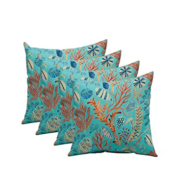 "RSH DECOR Set of 4 in Outdoor 17"" Square Decorative Throw Pillows ~ Blue, Peach, White, Cream, Orange, Coral, Red ~ Ocean Life ~ Coastal ~ Coral Reef : Garden & Outdoor"