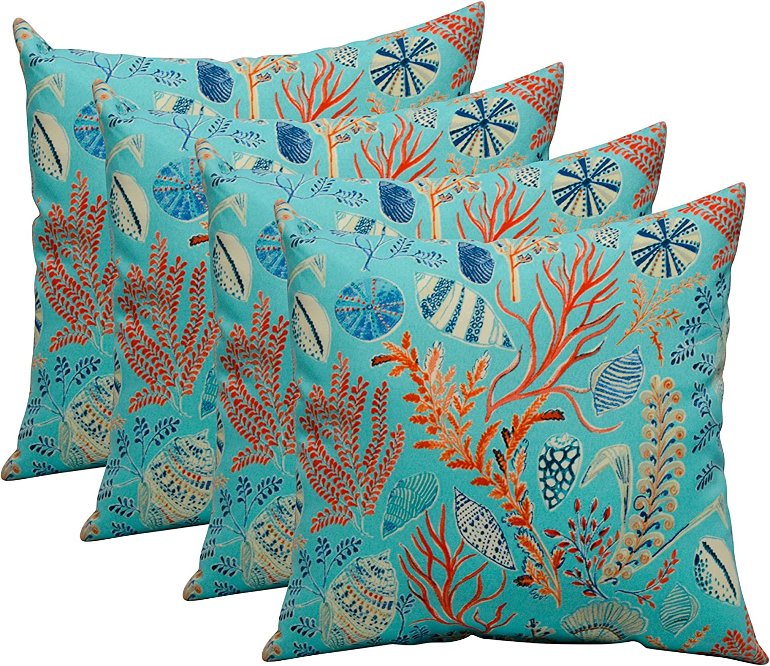 RSH DECOR Set of 4 in Outdoor 17 Square Decorative Throw Pillows Blue, Peach, White, Cream, Orange, Coral, Red Ocean Life Coastal Coral Reef