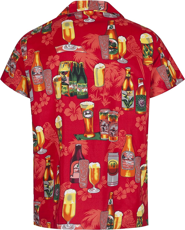 Mens Hawaiian Shirt Short Sleeve STAG Beach Holiday Beer Bottle Design Fancy Dress Hawaii