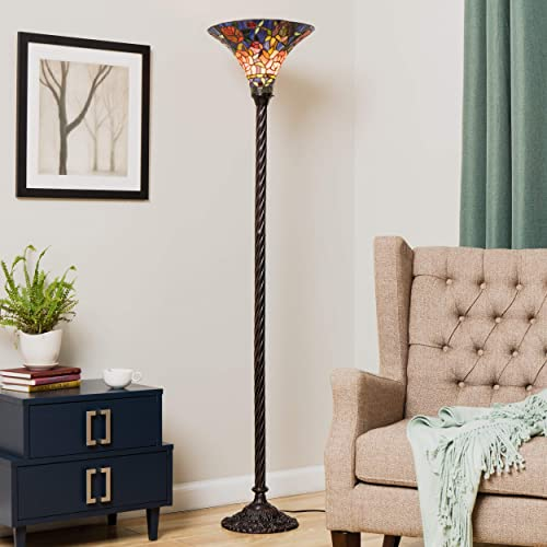 Warehouse of Tiffany BB75 PS185 Tiffany-Style Rose Torchiere Floor Lamp