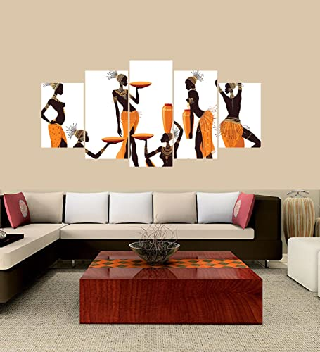 PEACOCK JEWELS Medium Premium Quality Canvas Printed Wall Art Poster 5 Pieces 5 Pannel Wall Decor Isolated African Women Painting, Home Decor Pictures – with Wooden Frame