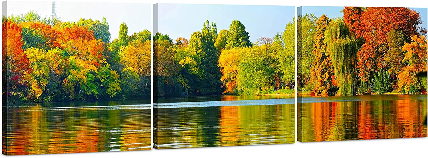 Amazon Com Canvas Wall Art Decor 24x24 3 Piece Set Total 24x72 Inch Fall Forest Lake Landscape Large Decorative Modern Multi Panel Split Prints For Dining Living Room