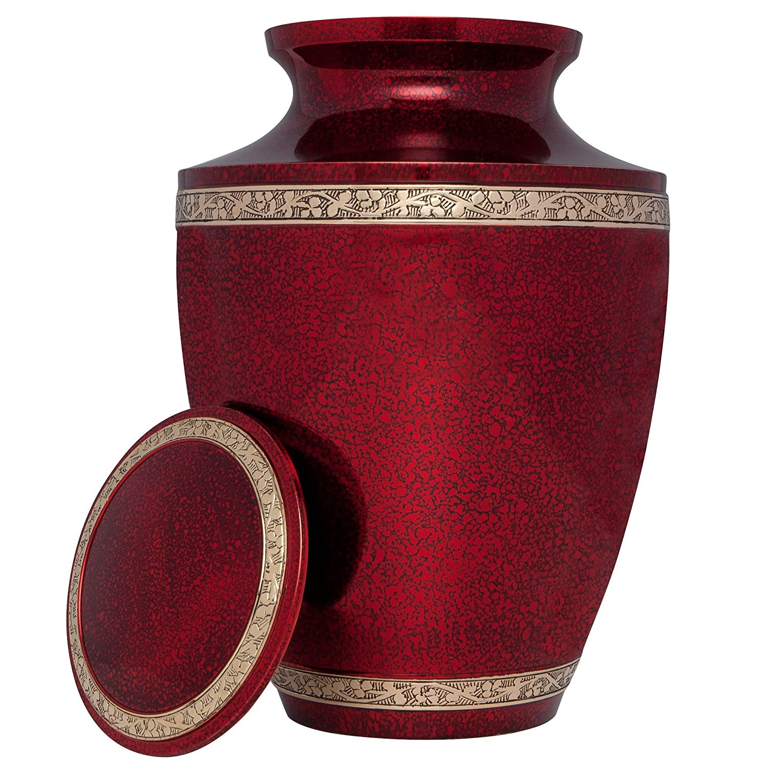 Liliane Memorials Glossy Red Funeral Cremation Urn Torino Model in Brass for Human Ashes Suitable for Cemetery Burial Fits Remains of Adults up to 200 lbs, Large 200 lb,
