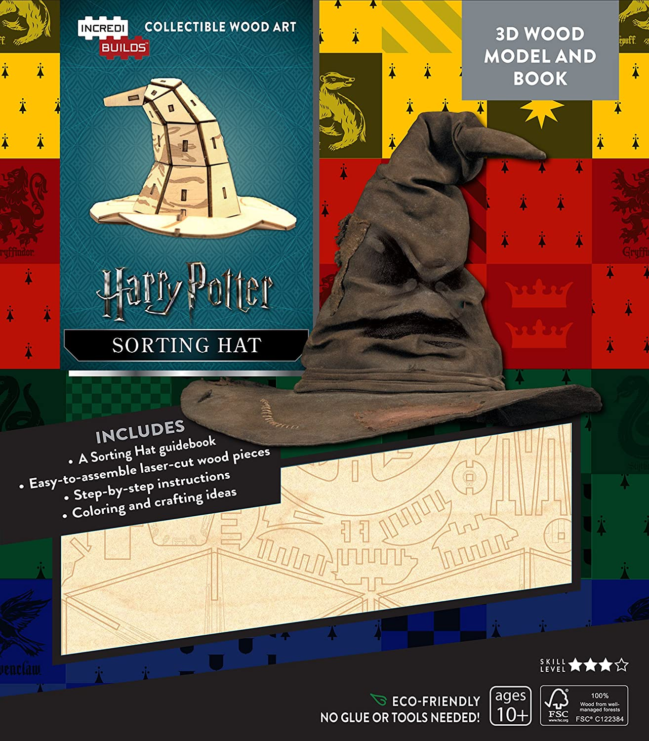 Hickoryville Incredibuilds Harry Potter Sorting Hat 3D Wood Model Bundled with Jelly Belly Harry Potter Bertie Botts Jelly Beans
