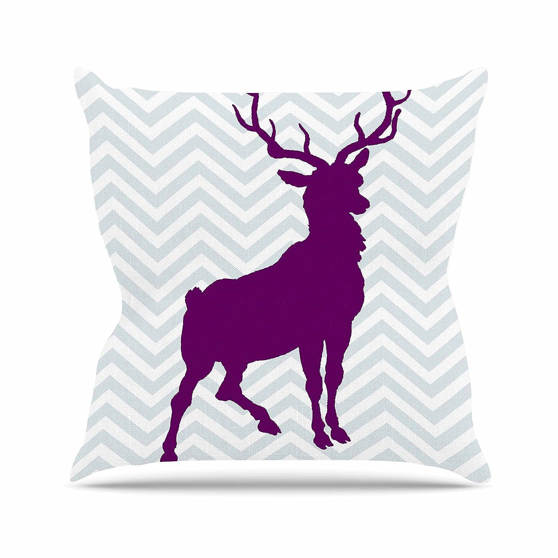 Kess InHouse Suzanne Carter Chevron Deer Purple Throw Pillow 20 by 20