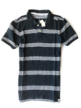 bf640e413 Aeropostale Men's Striped Rugby Polo Shirt Plain no Logo (X-Small, Navy)