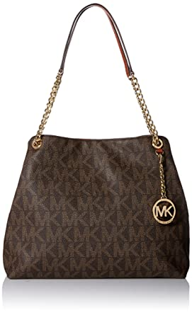 c76f74db002813 Amazon.com: Michael Kors Sig Print Jet Set Chain Large Shoulder Tote ...