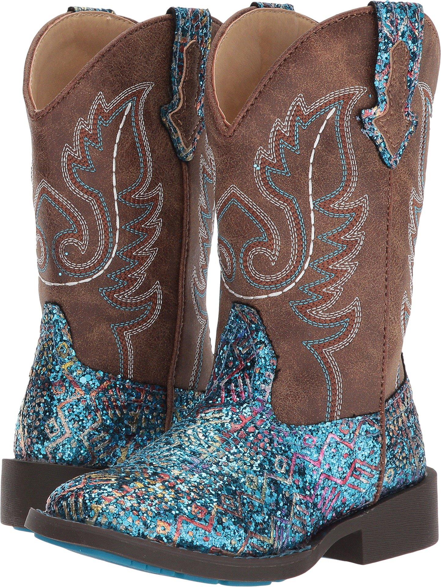 Roper Girls' Glitter Aztec Cowgirl Boot Square Toe Blue 10 D