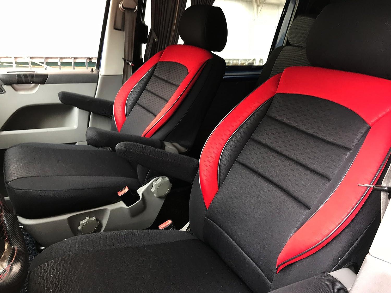 seatcovers by k-maniac Sitzbez/üge T5 T6 Multivan California Kombi Caravelle Transporter Kasten Fahrersitz Beifahrersitz Armlehnen Design T50 schwarz-rot