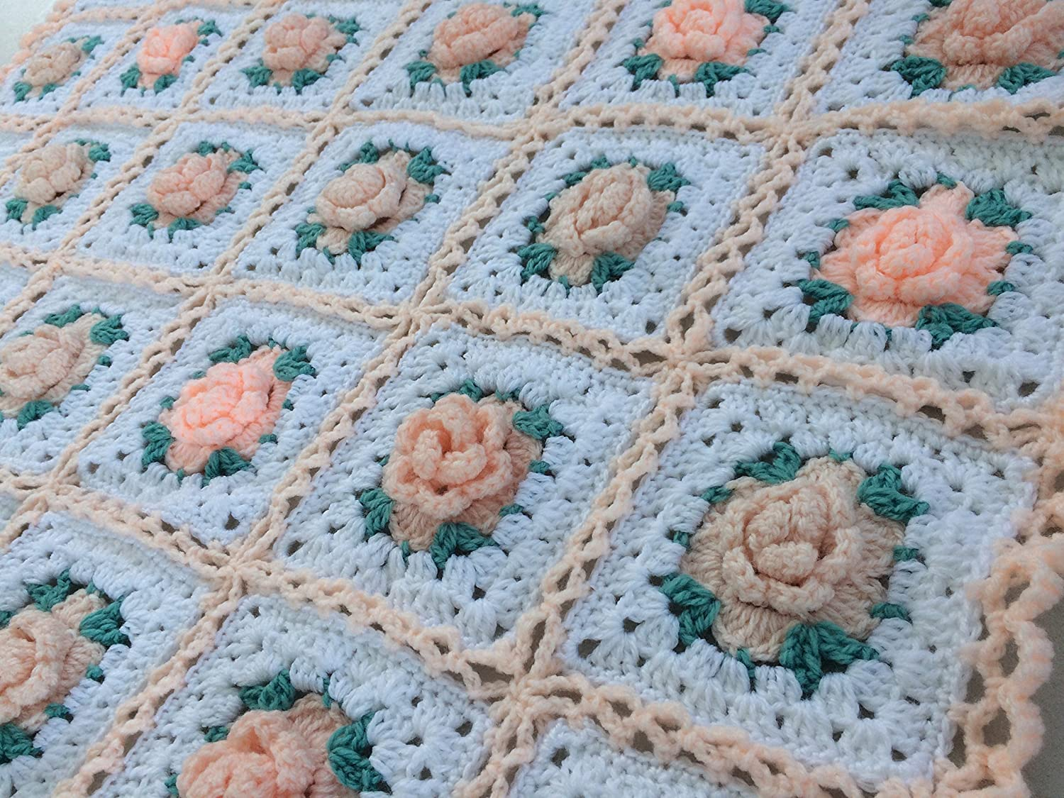 Image of Baby Blanket. Crocheted Blanket. Baby Afghan. Shabby Chic Granny Square Baby Blanket with 3 Dimensional Roses. Home and Kitchen