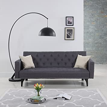 modern tufted fabric sleeper sofa bed with nailhead trim grey