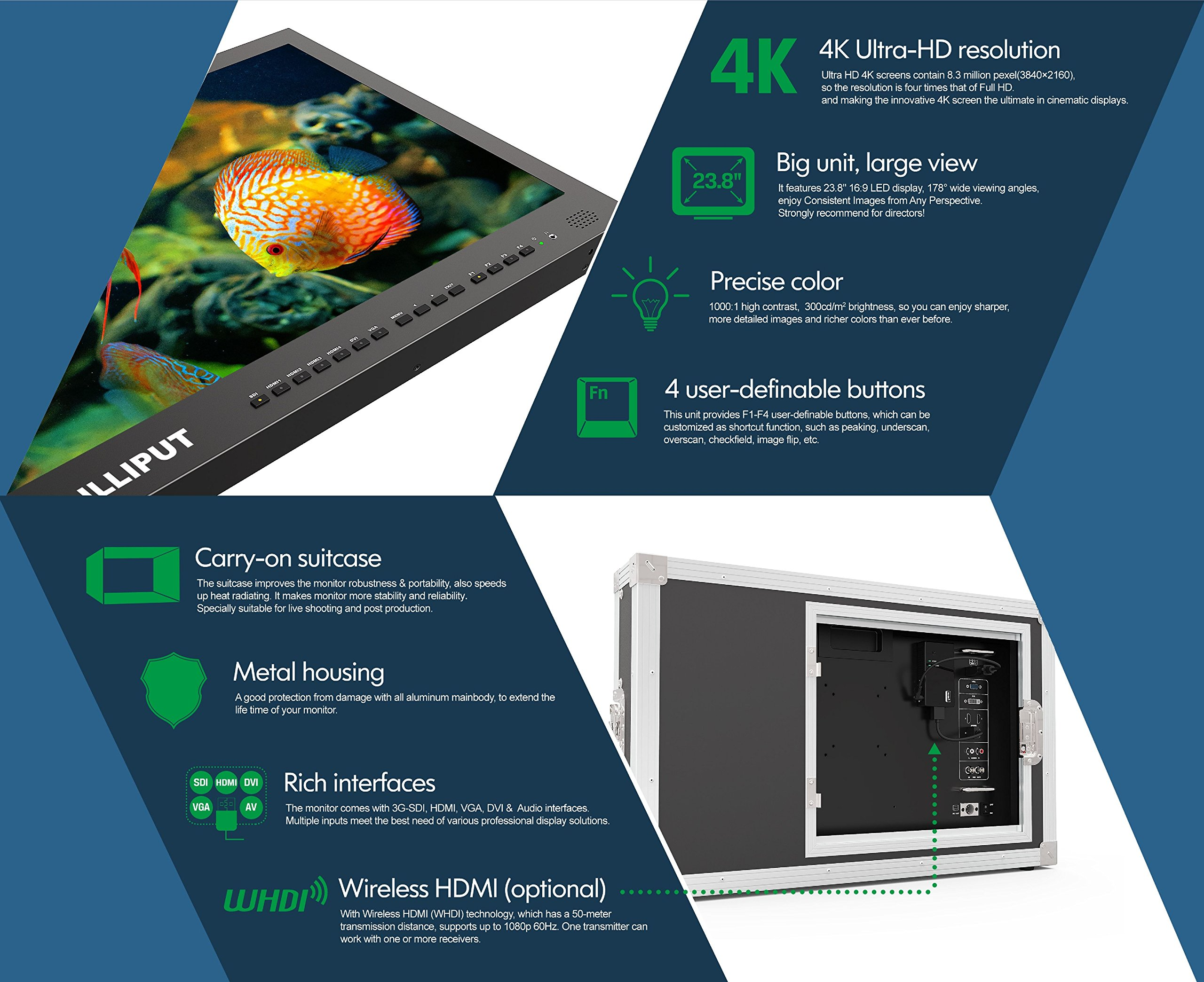 LILLIPUT BM230-4K 23.8'' 4K 3840×2160 Ultra-HD resolution, 1000:1 Contrast Ratio, 25ms Response Time with Carry-on Metal case 3G-SDI, HDMI, VGA, AV input by VIVITEQ by Lilliput