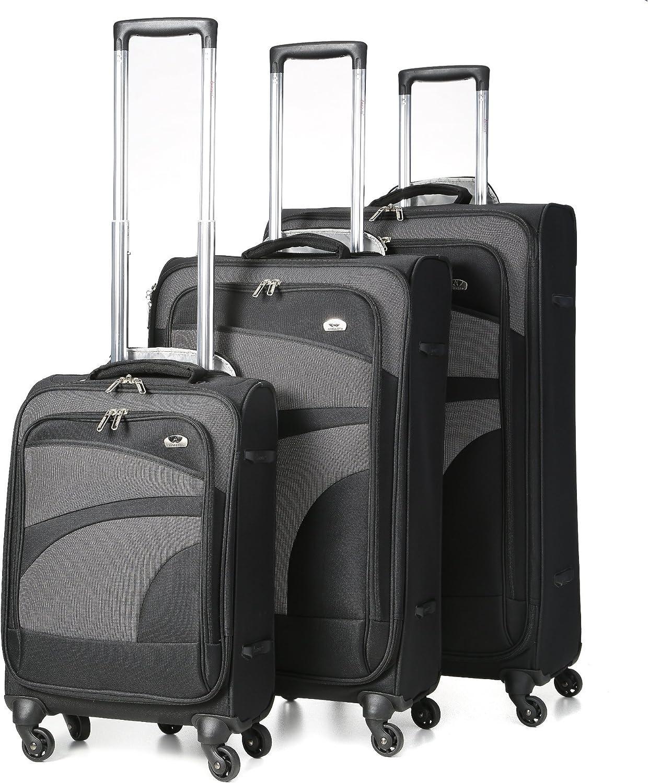 Aerolite - Maleta giratoria de 4 Ruedas con Ruedas (3 Piezas, Cabina de 21 Pulgadas + 26 Pulgadas + 29 Pulgadas, Negro/Gris