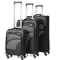 Aerolite Ultra Lightweight 4 Wheel Spinner Cabin/Medium/Large Suitcases, Hold Lugagge, Cabin Luggage & Luggage Sets, Black/Grey
