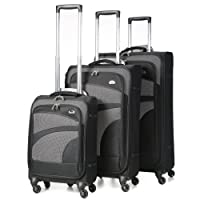Aerolite Ultra Lightweight 4 Wheel Spinner Cabin/Medium/Large Suitcases, Hold Lugagge, Cabin Luggage & Luggage Sets, Black/Grey
