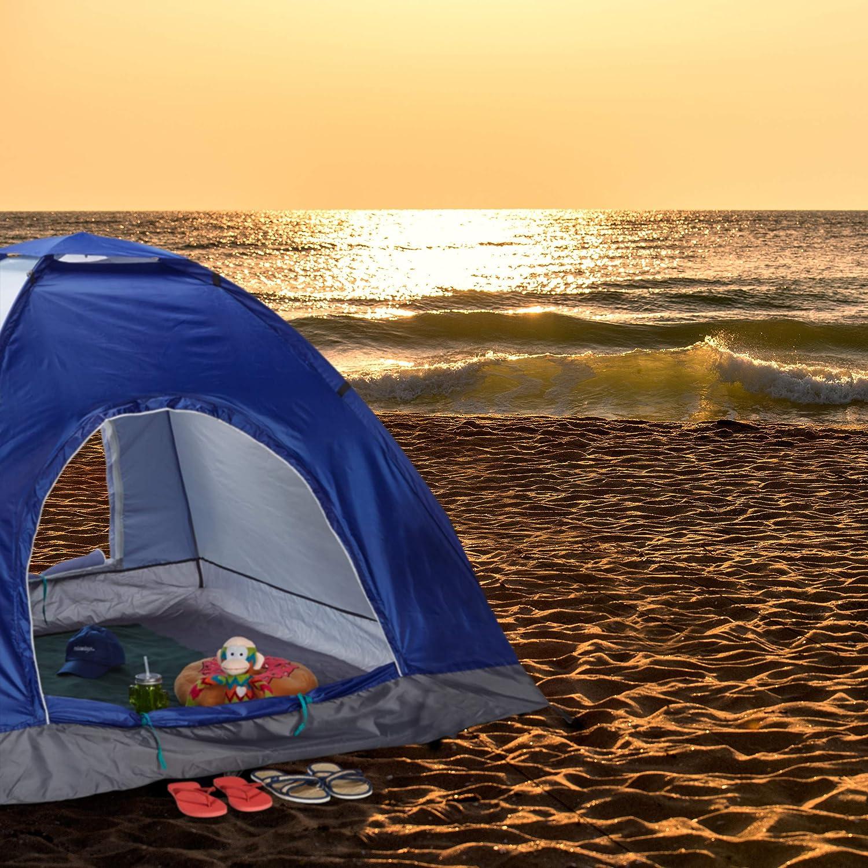 Relaxdays Tienda de Campa/ña Pop Up 135 x 200 x 200 cm para Playa 2-3 Personas Azul 1 Ud Poli/éster-Fibra de Vidrio