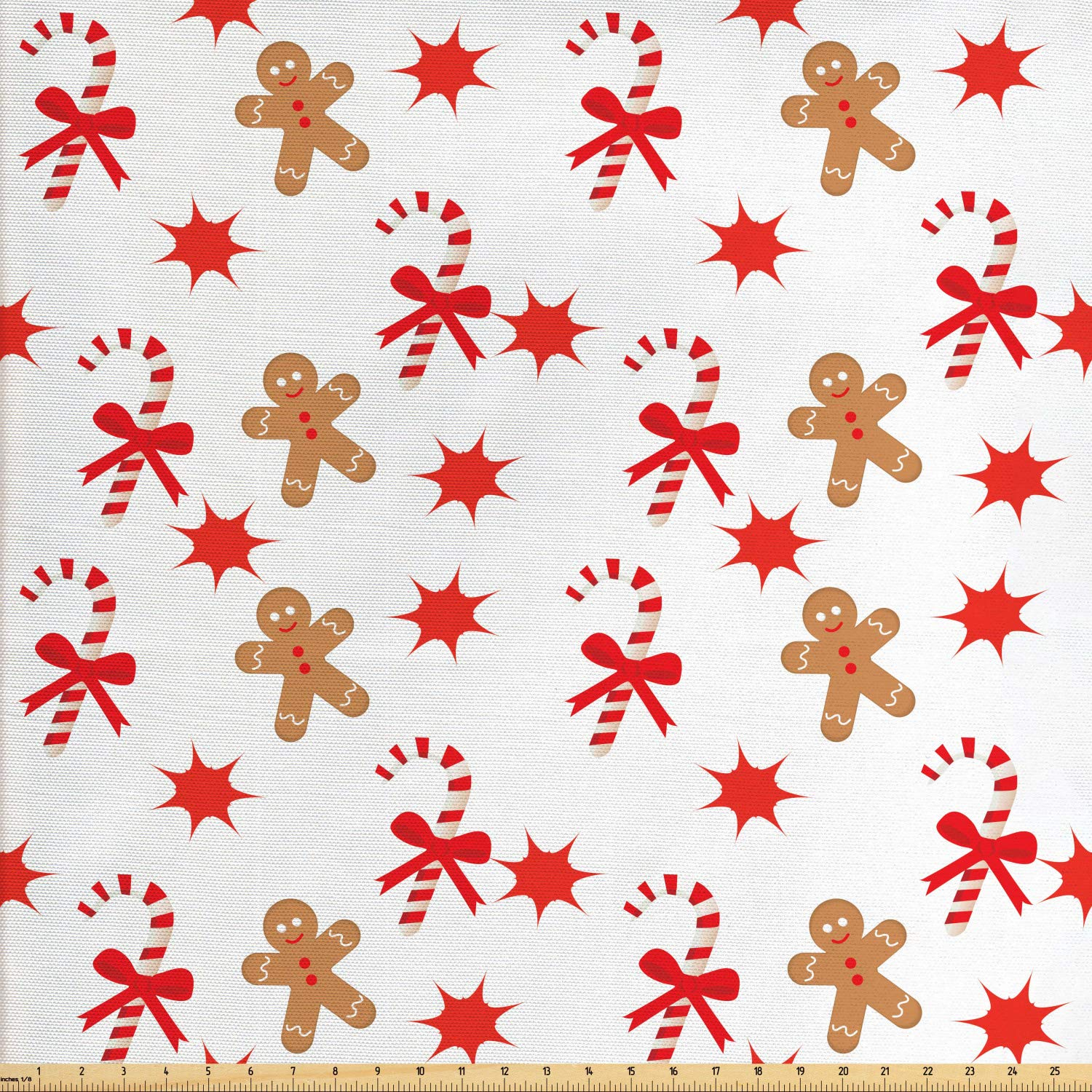 Ambesonne Gingerbread Man Fabric by The Yard, Candy Cane with Bowties Red Star Figures Gingerbread Man Pattern, Decorative Fabric for Upholstery and Home Accents, 3 Yards, Sand Brown Orange