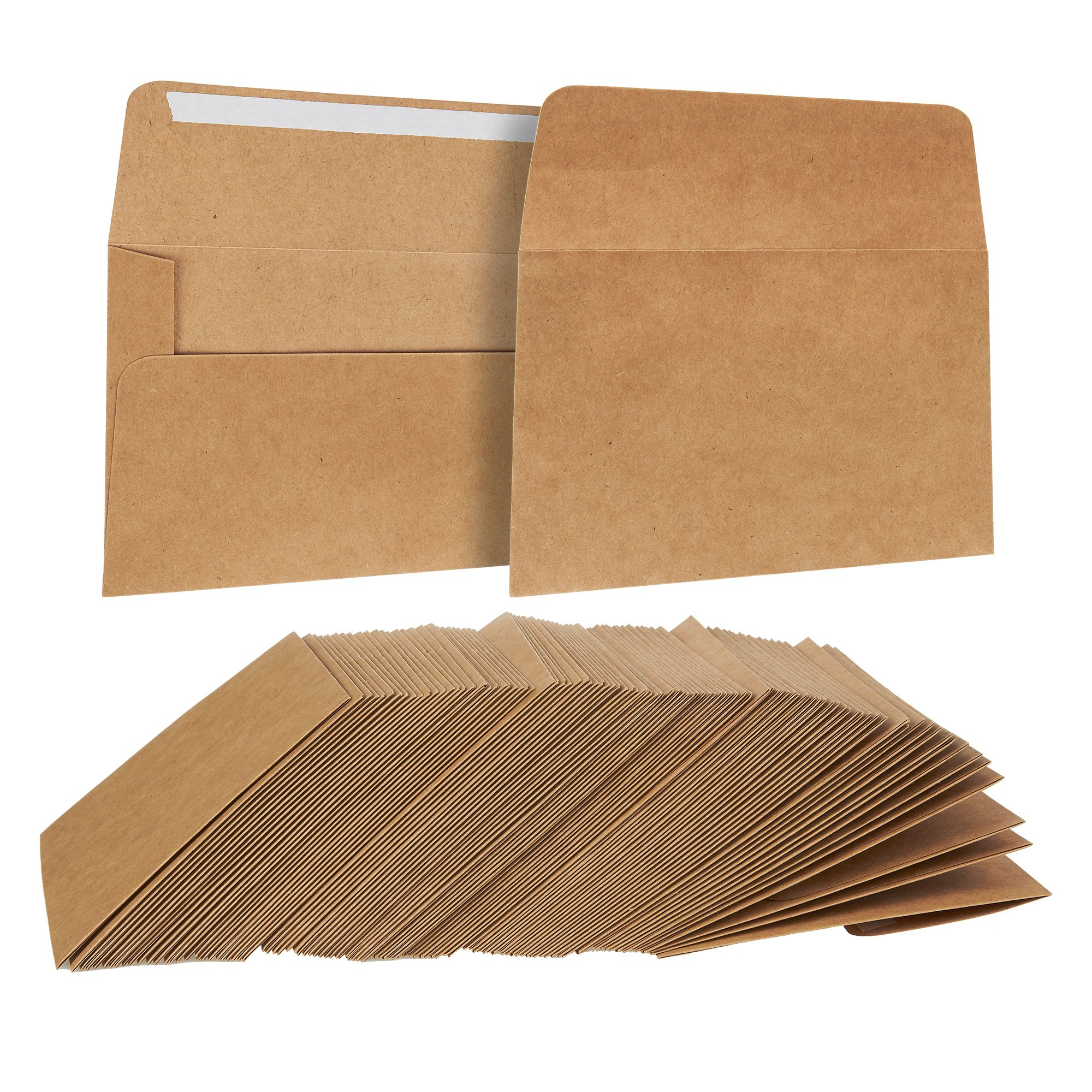 100 Pack, Size A2 Brown Kraft Paper Envelopes Self Sealing Adhesive Stationery For General, Office, Home Use - Tan - Set of 100-4.375 x5.75 Inches