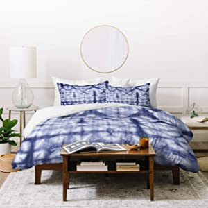 Deny Designs Amy Sia Tie Dye 2 Navy Duvet Set with Two Pillow Shams, Queen/Full, Blue