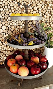 """Large 3-Tier Round Silver Metal Tray Stand w/ Brown Iron Bird Sculpture Handle & Scrolled Feet, Farmhouse Table Decor Metal Serving Trays 