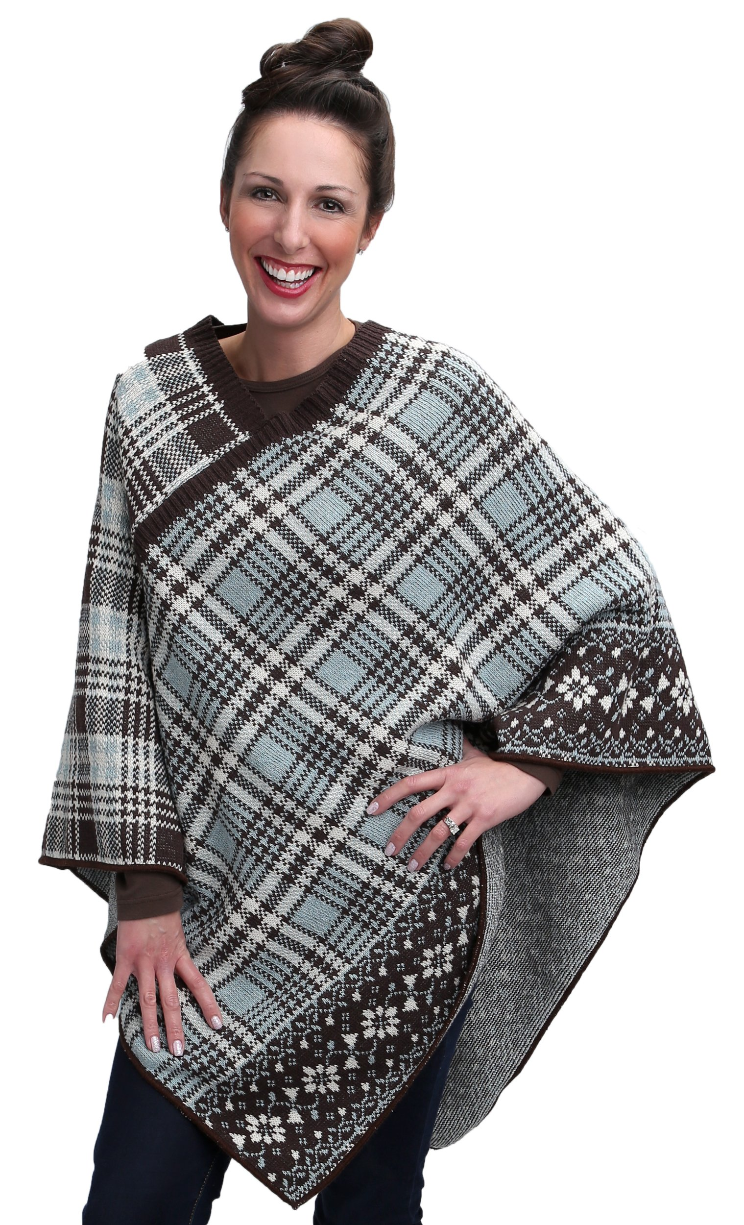 Green 3 Cable Knit Poncho (Chocolate Brown/Light Turquoise Vintage Plaid) - Womens Recycled Cotton Sweater Knit Wrap, Made in The USA (One Size)