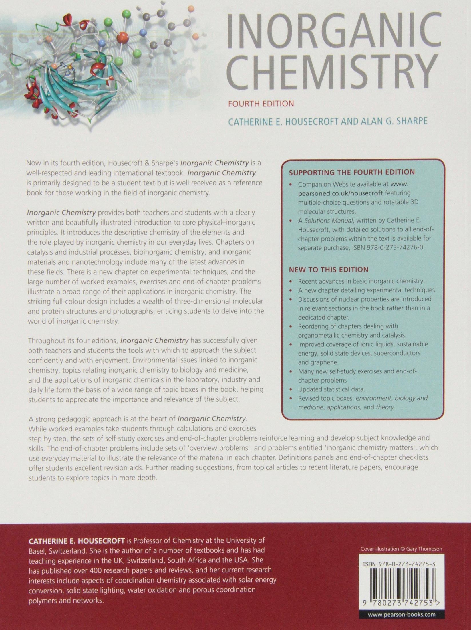 Inorganic Chemistry (4th Edition): Catherine Housecroft, Alan G. Sharpe:  9780273742753: Books - Amazon.ca