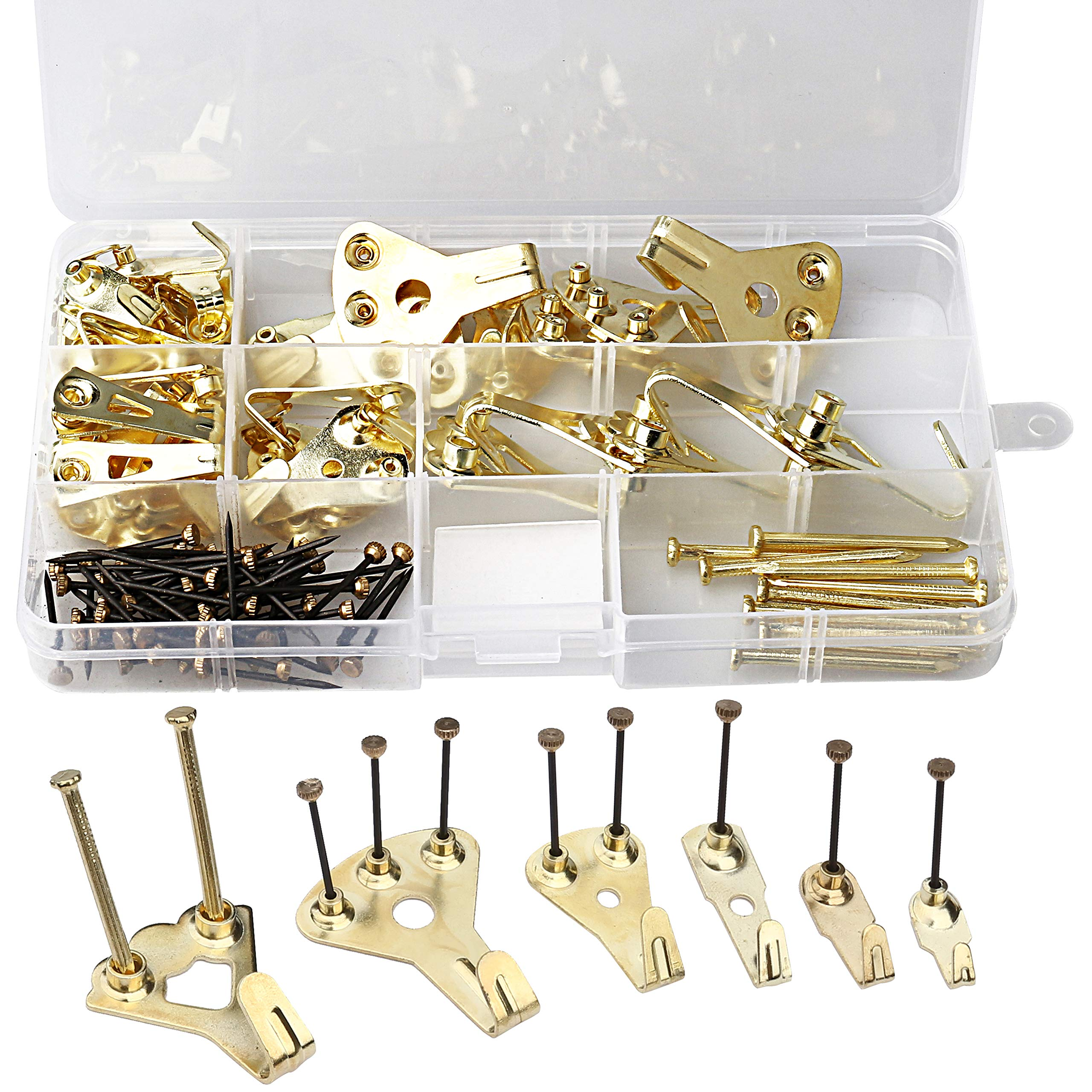 Photo Frame Hanging Hooks Kit 100Pcs Picture Hangers w Nails Holds 10 lbs