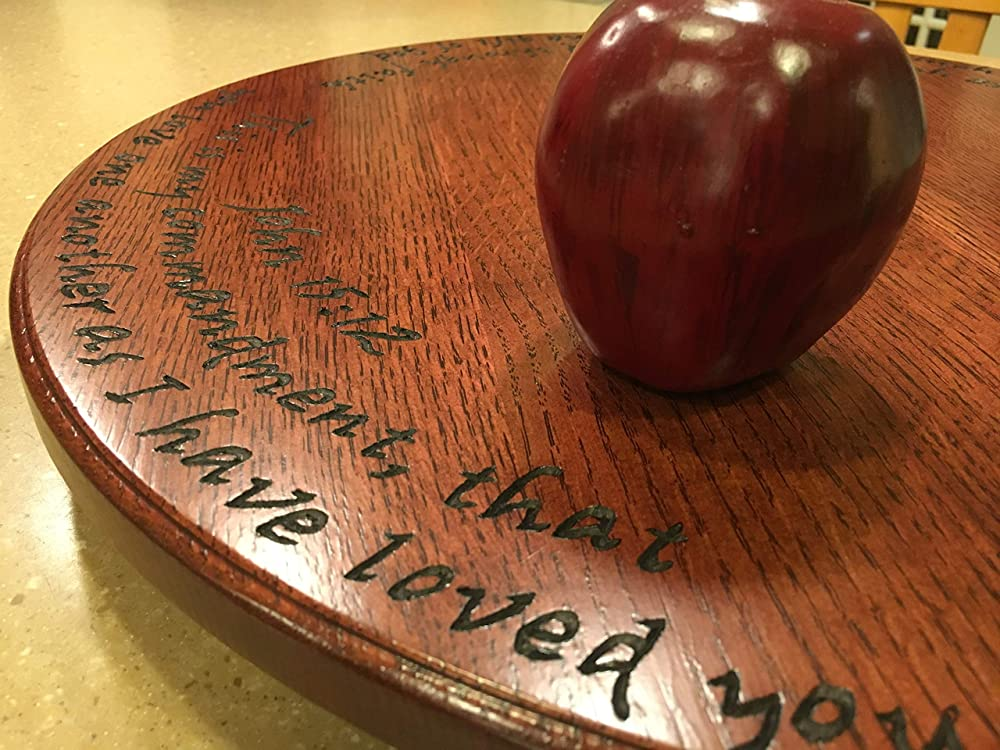 handmade by Java Woodworks 20 Lazy susan w//hand carved scripture