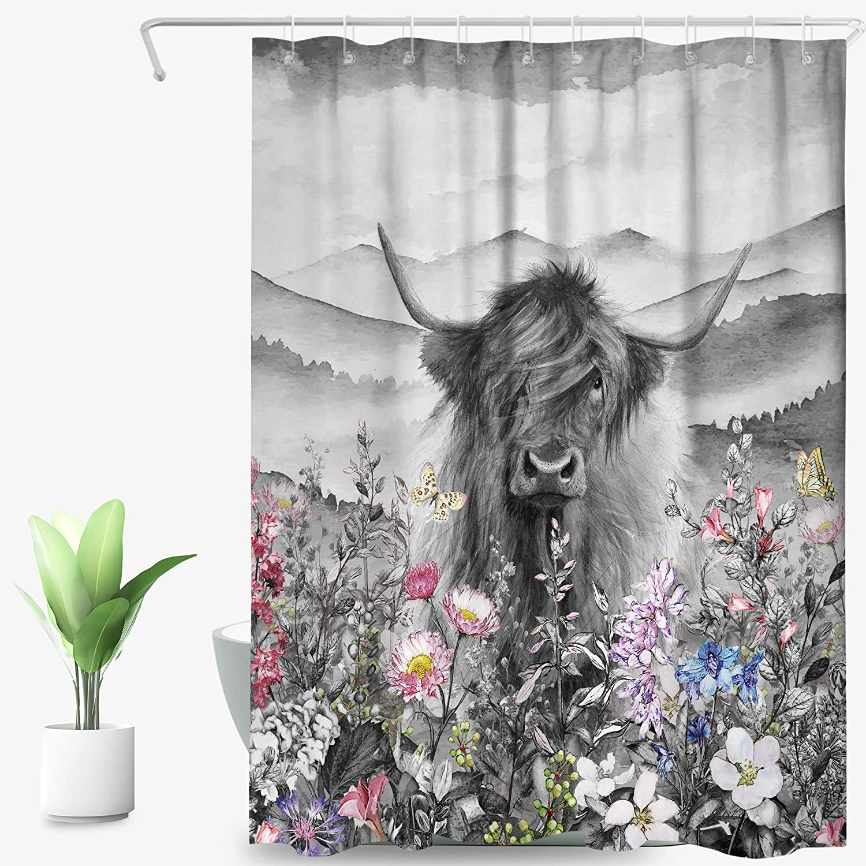 SVBright Highland Cow Shower Curtain Black White 72Wx84L Inch Floral Grass Western Mountain Farmhouse Garden Funny Longhorn Bull 12 Pack Hooks Polyester Waterproof Fabric Bathroom Bathtub Panels