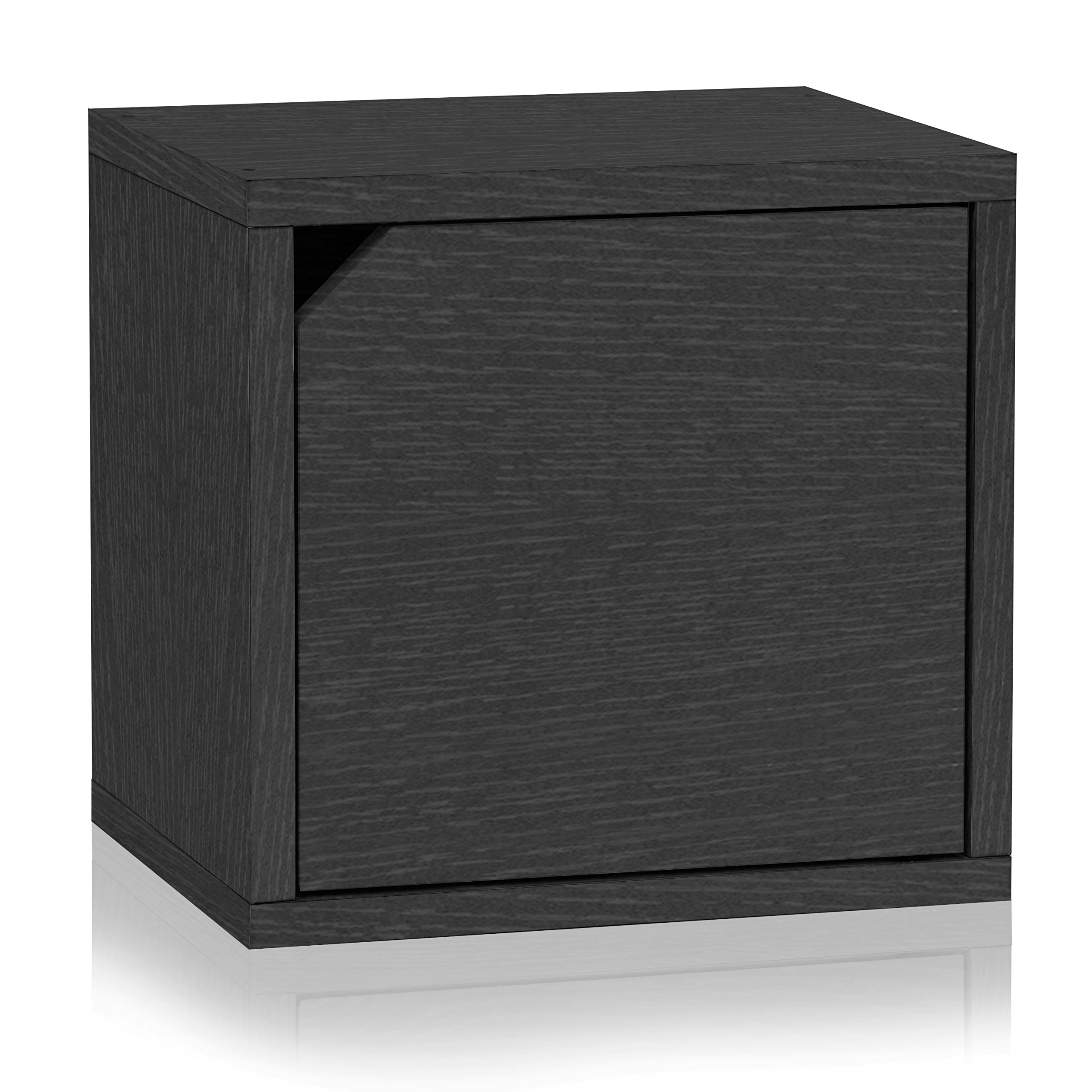 Way Basics Eco Stackable Connect Storage Cube with Door, Black Wood Grain