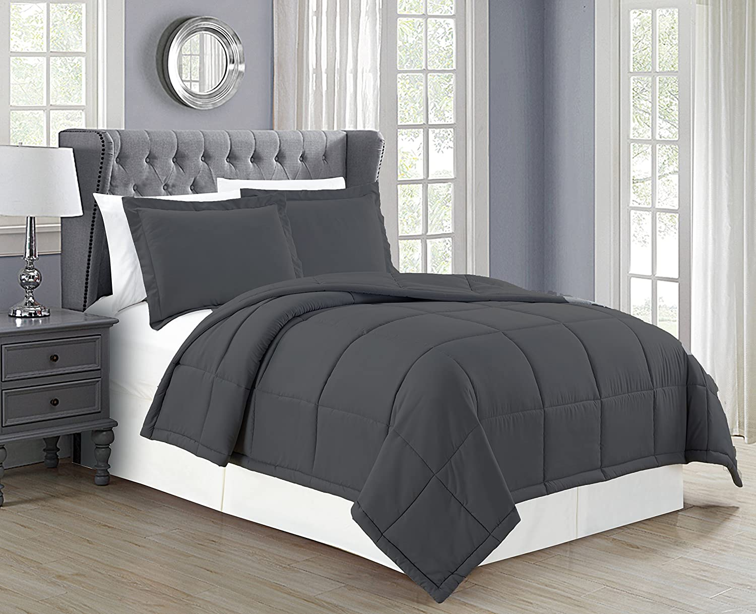 Mk Collection Down Alternative Comforter Set 3pc King Solid Charcoal/Dark Grey New