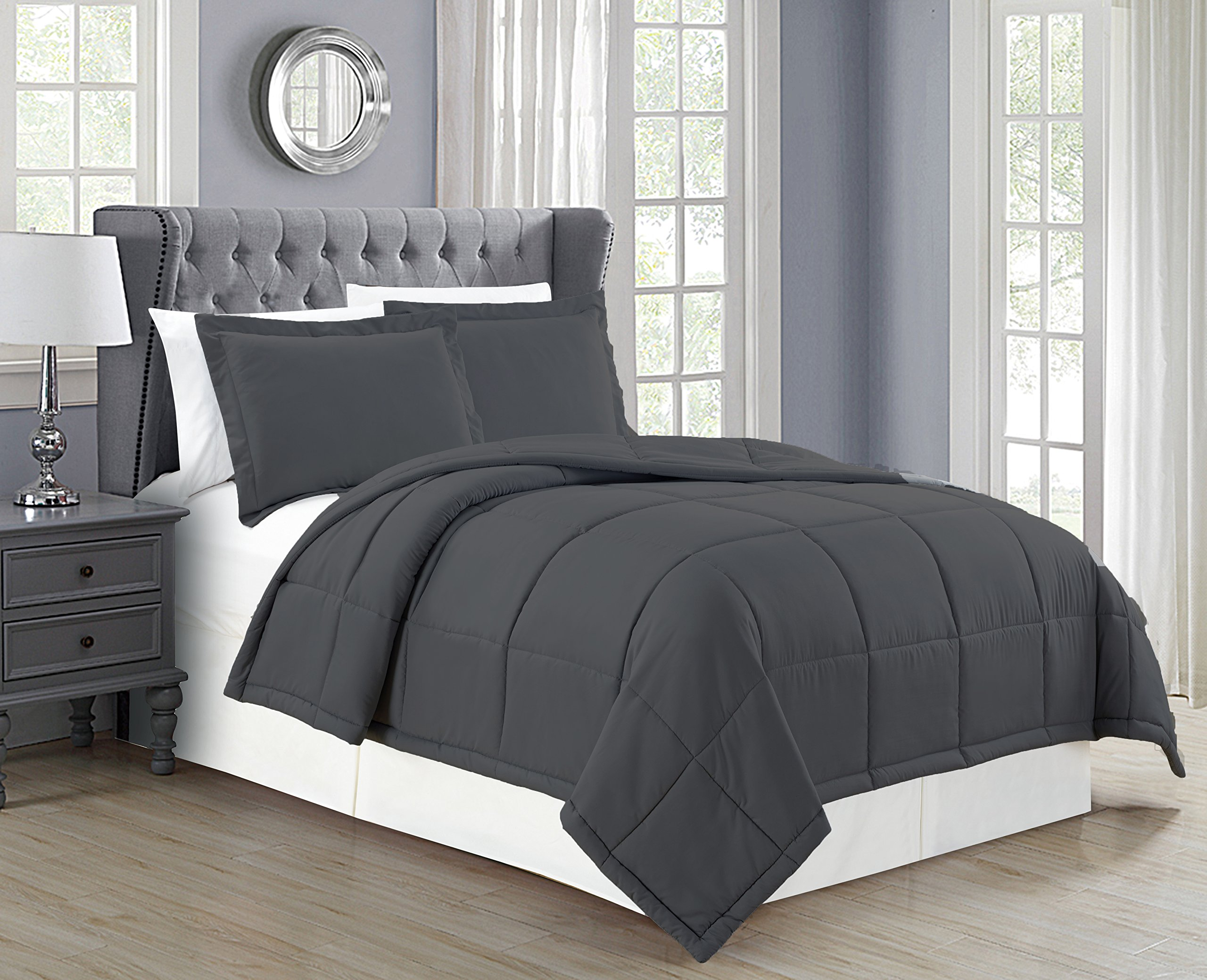 Mk Collection 3pc Full/Queen Down Alternative Comforter Set Solid Charcoal/Dark Grey New