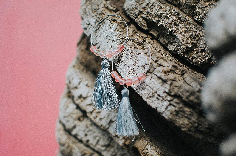 Pendientes de aro grandes con flecos y cuarzo rosa