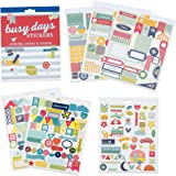Boxclever Press Busy Days Stickers Planner & Agenda. Livret 6 pages (281 stickers journal total) de flèches, étoiles & formes. Feuille d'or, vinyle & stickers en relief pour agendas & bullet journals