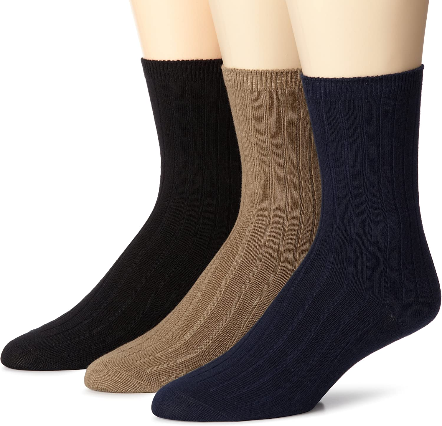 Stride Rite Little Boys Comfort Seam Ribbed Crew Socks Pack of Three Pairs