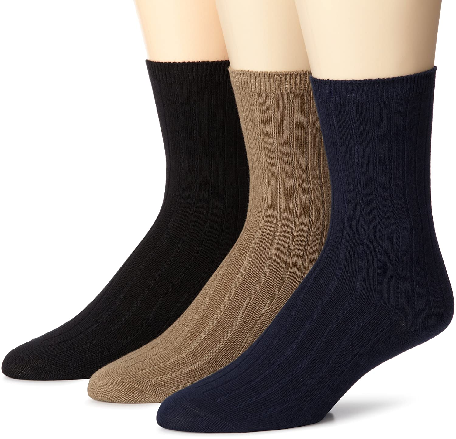 Stride Rite Little Boys' Comfort Seam Ribbed Crew Socks (Pack of Three Pairs) Navy/Khaki/Black 6-7.5 SR36303